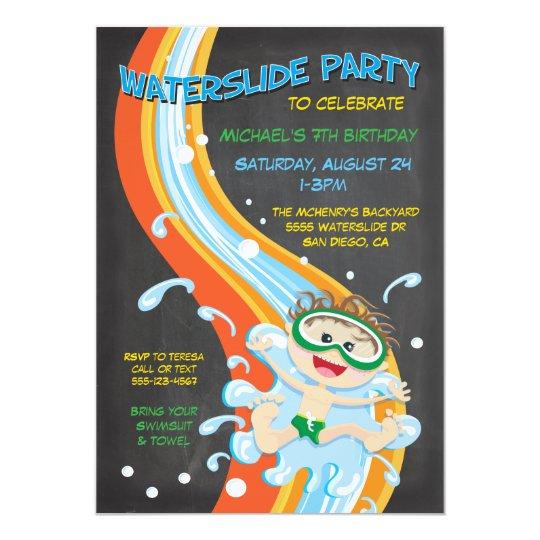 Chalkboard Waterslide Pool Party Invitation