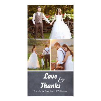 Chalkboard Wedding 3 Photo Thank You Photocard Card