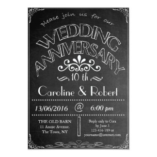 Chalkboard Wedding Anniversary Invitation 10th