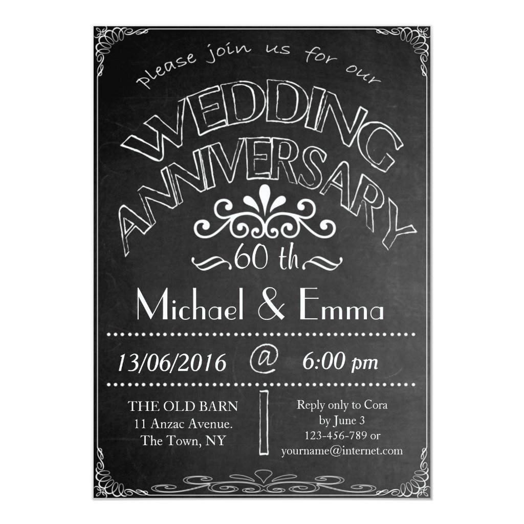 Chalkboard Wedding Anniversary Invitation 60th