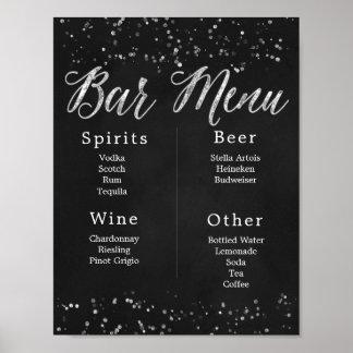 Chalkboard Wedding Bar Menu Poster