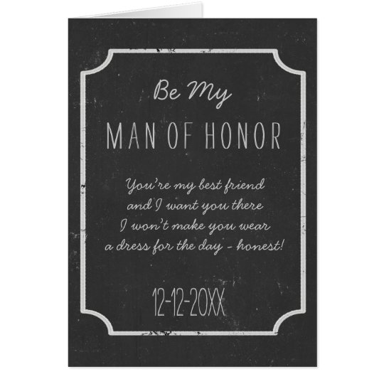 Chalkboard Wedding Be My Man of Honour Request