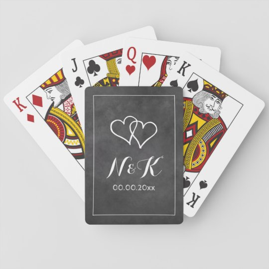 Chalkboard wedding custom blackboard monogram playing cards