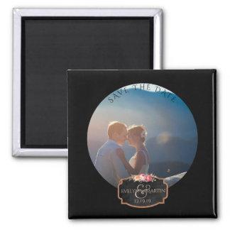 Chalkboard Wedding | Custom Save the Date Photo Square Magnet