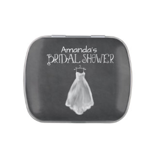 Chalkboard Wedding Dress Bridal Shower Favors Jelly Belly Candy Tin