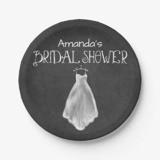 Chalkboard Wedding Dress Bridal Shower Plates