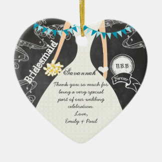 Chalkboard Wedding Gown Bridesmaid Gifts Ceramic Heart Decoration
