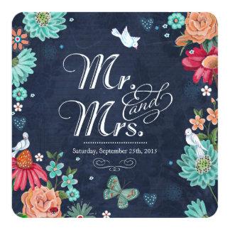 Chalkboard wedding invitation flowers