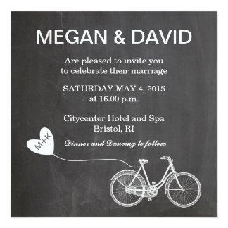 Chalkboard Wedding Invites with bike
