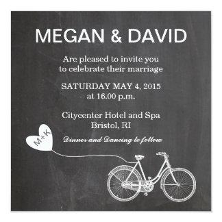 Chalkboard Wedding Invites with bike 13 Cm X 13 Cm Square Invitation Card