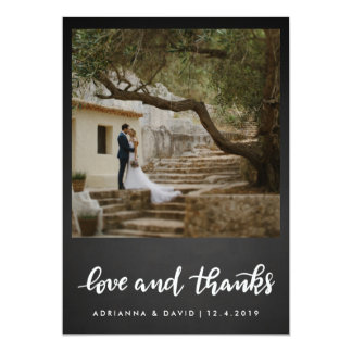 Chalkboard Wedding Love And Thanks | Photo Card