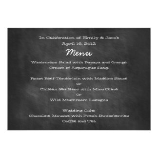 Chalkboard Wedding Menu Cards