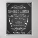 Chalkboard wedding message in a bottle print