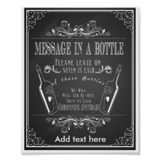 Chalkboard wedding message in a bottle print