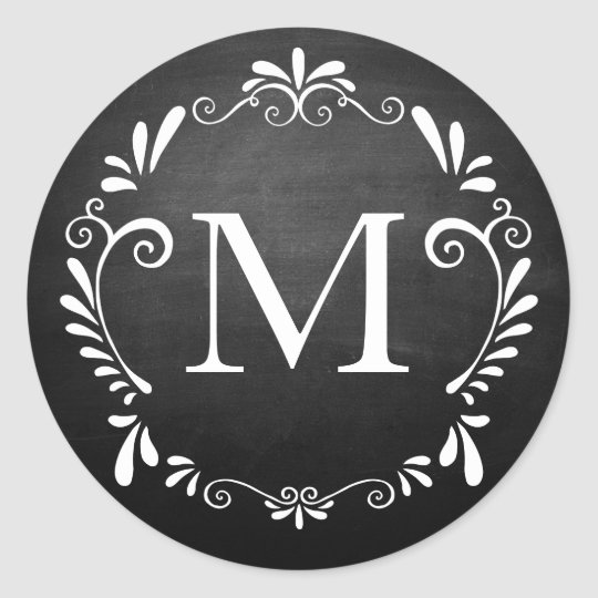 Chalkboard Wedding Monogram Circular Sticker