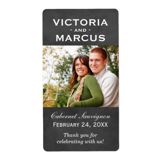 Chalkboard Wedding Photo Wine Bottle Favour Labels