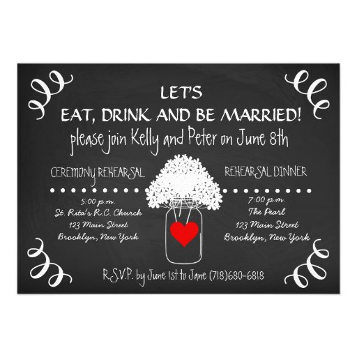 Chalkboard Wedding Rehearsal Mason Jar Invitations Personalized Invitations