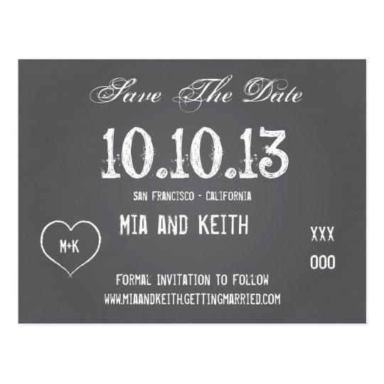 Chalkboard Wedding Save The Date Postcard