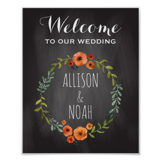 Chalkboard Wedding Sign | Watercolor Floral
