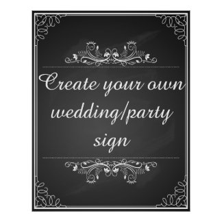 Chalkboard wedding sign with your own words