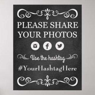 Chalkboard Wedding Social Media Hashtag Sign Poster