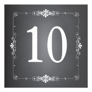 Chalkboard Wedding Table Number Square Card