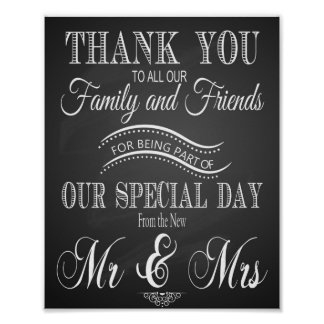 Chalkboard Wedding Thank You print