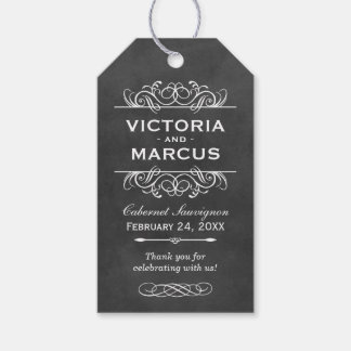 Chalkboard Wedding Wine Bottle Monogram Favor Tags