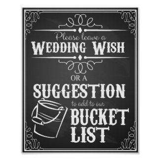 Chalkboard wedding wishing well bucket list print