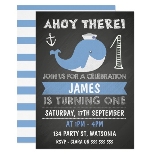 Chalkboard Whale Anchor 1st Birthday Invitation