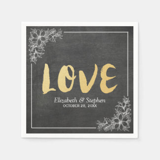 Chalkboard White Floral Frame Gold Script Weddings Disposable Serviette