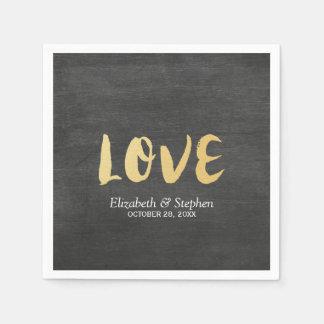 Chalkboard White Floral Frame Gold Script Weddings Disposable Serviettes