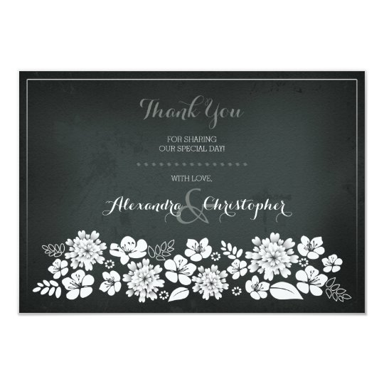 Chalkboard White Flowers Vintage Thank You Card