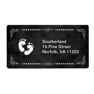 Chalkboard White Foot Baby Shower Address Label
