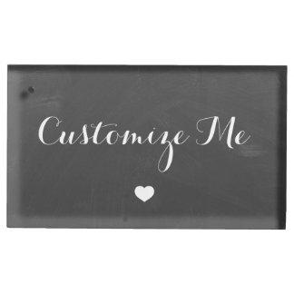 Chalkboard White Heart Wedding Table Number Holder