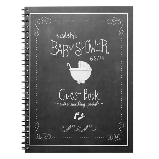 Chalkboard White Vintage Baby Shower Guestbook Notebook