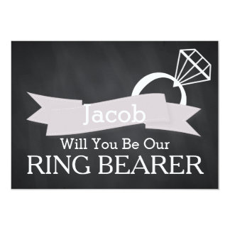 Chalkboard Will You Be Our Ring Bearer Card