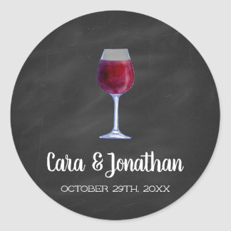 Chalkboard Wine Round Stickers