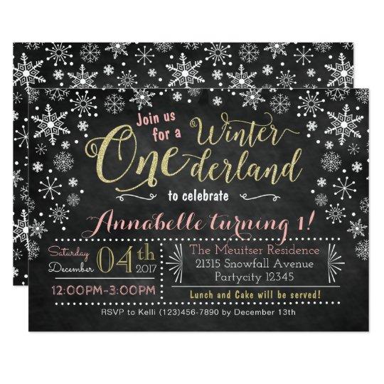 Chalkboard Winter ONEderland Birthday Invitation