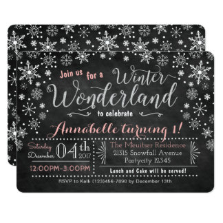 Chalkboard Winter Wonderland Birthday Invitation