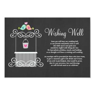 Chalkboard Wishing Well Lovebirds 9 Cm X 13 Cm Invitation Card