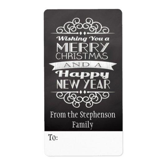 Chalkboard Wishing You Merry Christmas Gift Tag