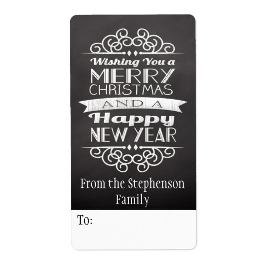 Chalkboard Wishing You Merry Christmas Gift Tag Shipping Label