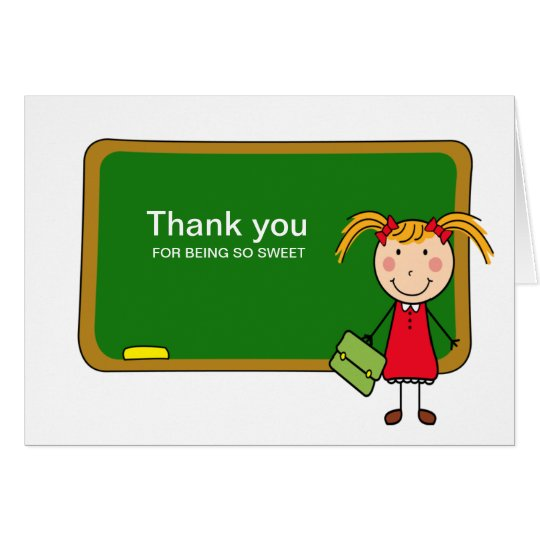 Chalkboard with Girl Thank You Notecard