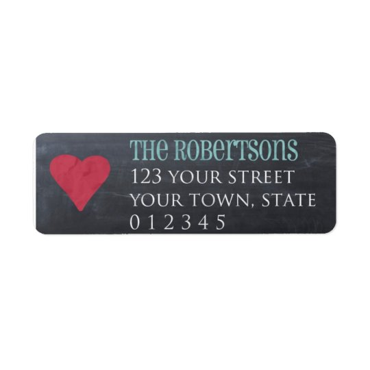 Chalkboard with heart return address label