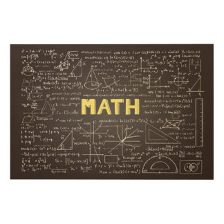 Chalkboard with math elements Wood Wall Art