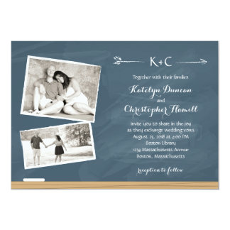 Chalkboard with Photos   Wedding Card