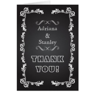 Chalkboard with vintage frame wedding Thank You Card