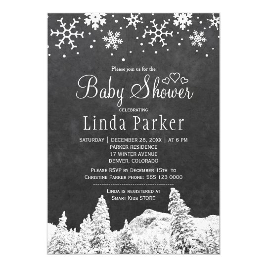 Chalkboard wonderland rustic winter baby shower card