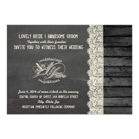 Chalkboard Wood Typography Dove Wedding Invitation